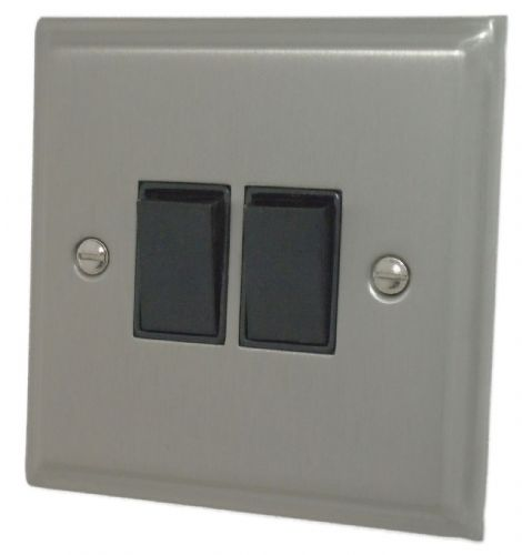 G&H DSN2B Deco Plate Satin Nickel 2 Gang 1 or 2 Way Rocker Light Switch
